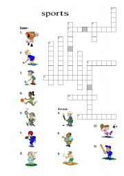 English Worksheet: Sport Crosswords