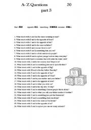 English Worksheets: A-Z questions