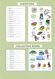 English Worksheet: Partitives and collective nouns