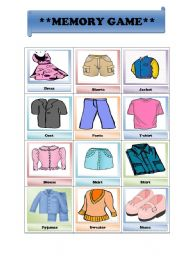 English Worksheets: Memory Game/ clothes