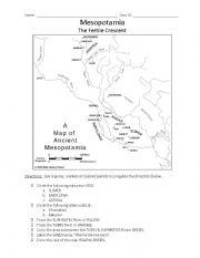 English Worksheet: Mesopotamia Map Activity