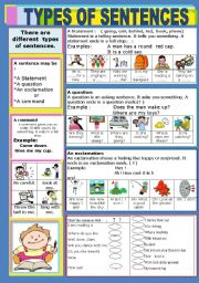 English Worksheet: TYPES OF SENTENCES