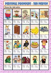 English Worksheet: PERSONAL PRONOUNS - 3rd PERSON