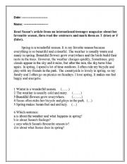 English Worksheets: Reading comprehension with key