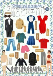 English Worksheets: Clothes and accessories - Poster (1/3)