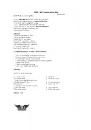 English Worksheets: Song - I don�t wanna miss a thing - Aerosmith