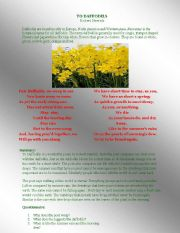 English Worksheets: To Daffodils by Robert Herrick