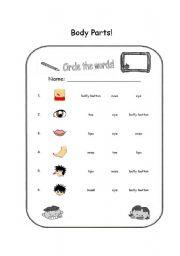 English Worksheet: Body Parts - Circle the Word