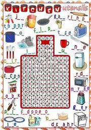 Kitchen Utensils Equipment Worksheets
