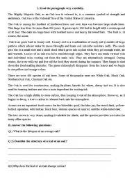 English Worksheets: Reading Comprehension-Oak Tree
