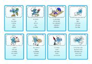 English Worksheet: Taboo cards: Present Perfect Game with the SMURFS
