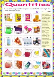 English Worksheet: Quantities set  (a piece of, a slice of, a can of...)  -  (1)