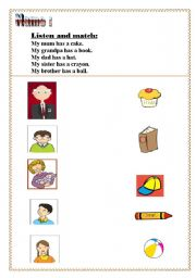 English Worksheet: listening sheet  for family members