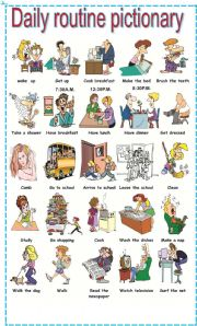 English Worksheet: Daily routine pictionary