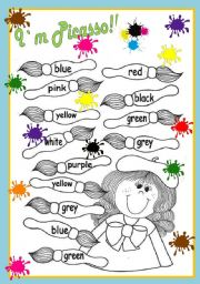English Worksheet: Colours, colours, colours... I`m Picasso!!!
