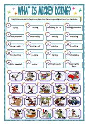 English Worksheets: WHAT IS MICKEY DOING?