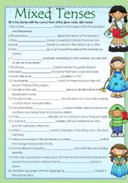 English Worksheet: Mixed tenses with answer keys