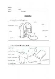 English Worksheet: English test - 4th grade