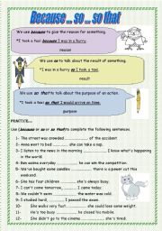 English Worksheets: Because, so and so that