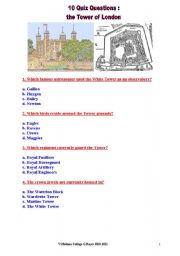 English Worksheet: a 10 QUESTIONS QUIZ about the TOWER of LONDON
