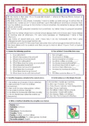 English Worksheets: Daily routines (12.08.11)
