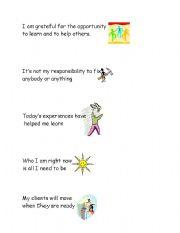 English Worksheets: meditation cards