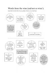 English Worksheets: Matching Quotes