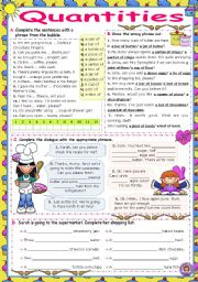 English Worksheet: Quantities Set  (a piece of, a slice of, a can of...)  -  Practice (2)