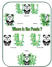 English Worksheets: Where is the Panda Preposition Dominoes and Memory Cards Part 4 of 4