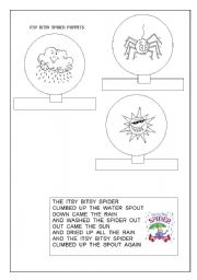 picture relating to Itsy Bitsy Spider Printable titled Itsy Bitsy Spider - music and finger puppets - ESL worksheet