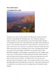 English Worksheets: The Grand Canyon - Reading comprehension and vocabulary building
