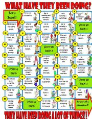 Present Perfect Continuous board game