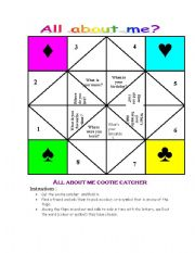 English Worksheet: All about me! cootie catcher