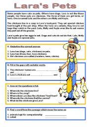 English Worksheet: Lara�s Pets reading comprehension