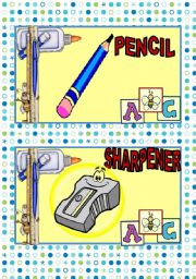 English Worksheet: SCHOOL SUPPLIES FLASH CARDS