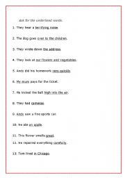English worksheet: Ask for the underlined words.