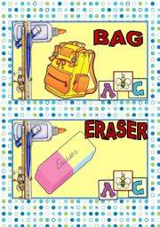 English Worksheet: SCHOOL SUPPLIES FLASH CARDS#2