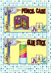 English Worksheet: SCHOOL SUPPLIES FLASH CARDS#3