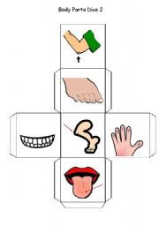English Worksheets: Body Parts Dice - Part 2