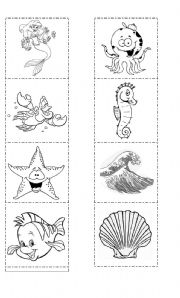 English Worksheets: ThE SeA - Memory Cards
