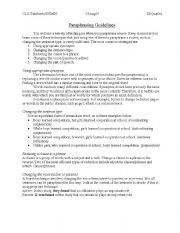 English Worksheet: Paraphrasing Guidelines