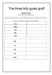 English teaching worksheets: Three Billy Goats