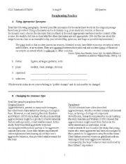 English Worksheet: Paraphrasing Practice Packet
