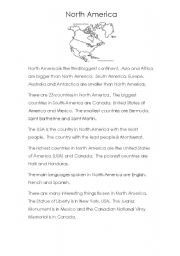 English Worksheet: Continent info 2 (North America, South America and Australia)