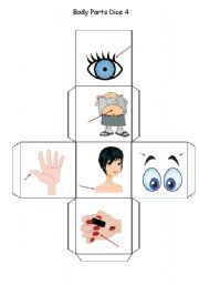 English Worksheets: Body Parts Dice - Part 4