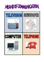 English Worksheet: Means of communication. Flash card