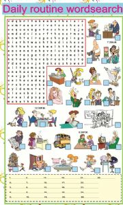 English Worksheets: Daily Routine Wordsearch