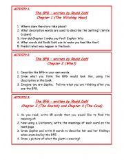 English Worksheets: BFG Questions for Chapters 1 to 11 (part 1)