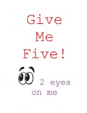 English Worksheets: Give me Five