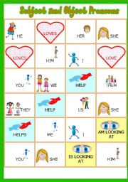 Subject ans Object Pronouns Part 2 # Game # Insrtuctions # Fully editable